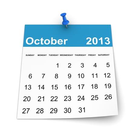 달력 2013 - 2011 년 10 월