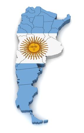 sur: Mapa 3D de Argentina