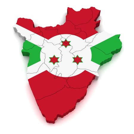 burundi: 3D Map of Burundi Stock Photo