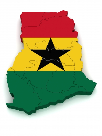 operative: 3D Map of Ghana Stock Photo
