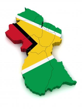 3D Map of Guyana Stock Photo