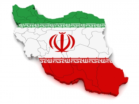 co operative: 3D Map of Iran Stock Photo