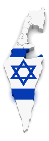 flag of israel: 3D Map of Isreal