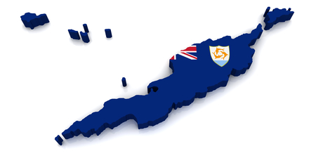 anguilla: 3D map of Anguilla Stock Photo