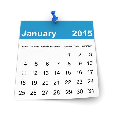 Calendar 2015 - January Stock Photo
