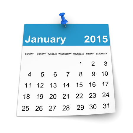 three dimensional shape: Calendar 2015 - January Stock Photo