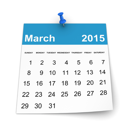 three dimensional shape: Calendar 2015 - March