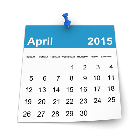 three dimensional shape: Calendar 2015 - April Stock Photo