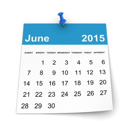 three dimensional shape: Calendar 2015 - June Stock Photo