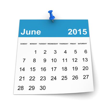 Calendar 2015 - June Stock Photo