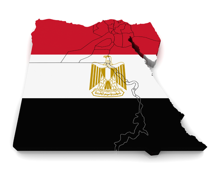 alexandria egypt: 3D map of Egypt Stock Photo