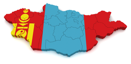 co operative: 3D map of Mongolia Stock Photo