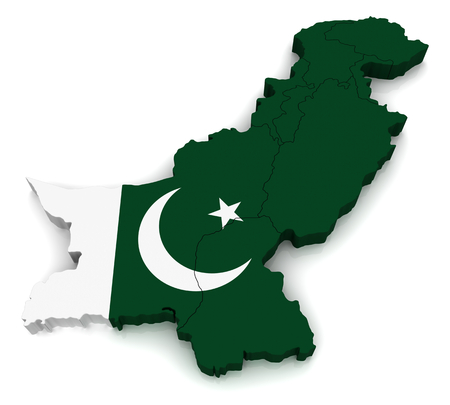 pakistan flag: 3D map of Pakistan Stock Photo