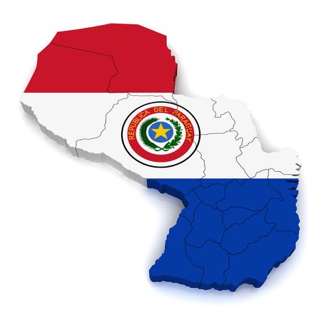 bandera de paraguay: Mapa 3D de Paraguay