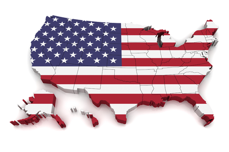 united states flag: 3D map of United States of America Stock Photo