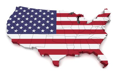 3D map of United States of America Standard-Bild