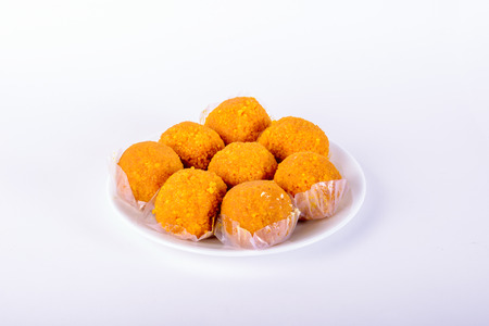 Plate of Motichoor Laddus on a white background