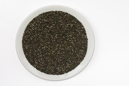 salvia hispanica: Chia seeds (Salvia hispanica) in a plate Stock Photo