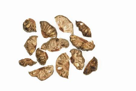 sun dried: Sun dried Kokum phool or vatamba (artocarpus lacucha) on a white background