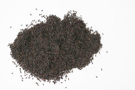 Black Sabja seeds or Basil seeds (Ocimum basilicum) on a white background