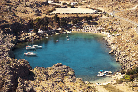 Viewonto St Pauls Bay in Lindos, Rhodes, Greece
