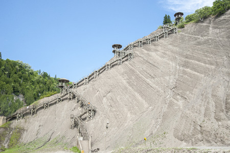 Most visitors choose to descend this long stairway from the bridges over Montmorency Falls