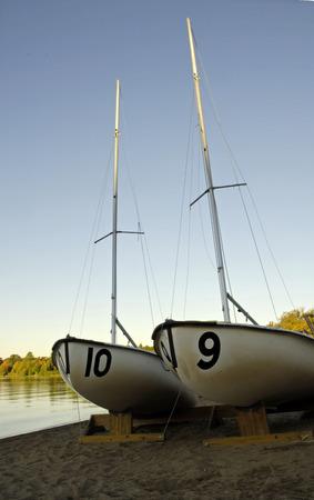shorelines: Sailboats at Lake Massapoag in Sharon, Massachusetts