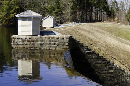 runoff: Winter runoff spills over the dam at Barden Reservoir