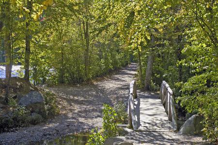 上部と下部の濾過池国境州立公園内の架け橋 写真素材