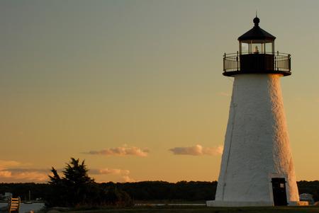 sidelight: Evening at Neds Point lighthouse in Mattapoisett, Massachusetts