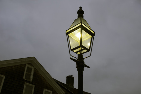 reassuring: Street lamp provides reassuring light on a cold night