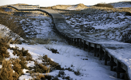 protects: Boardwalk protects dunes while allowing vistors access to beach Stock Photo