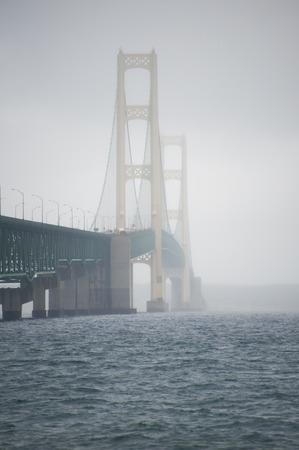 mackinac: Construction on Mackinac Bridge on foggy morning