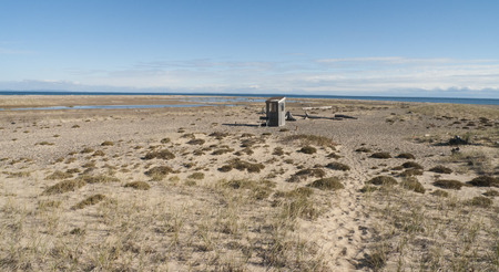 Tiny shack serves as base for observers of migrant birds at Whitefish Point on the Michigan Upper Peninsula