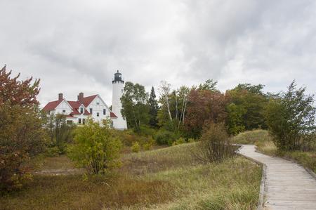 upper peninsula: Point Iroquois Lighthouse on Michigans Upper Peninsula