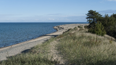 whitefish: Shoreline at Whitefish Point on Lake Superior on Michigan Upper Peninsula Stock Photo