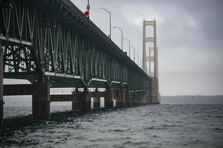 mackinac: Mackinac Bridge on rainy fall morning
