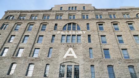 flour mill: Historic Pillsbury flour mill on Mississippi River in Minneapolis