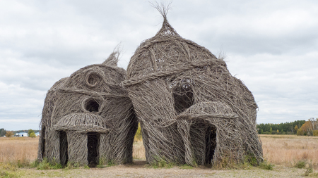 ironwood: Willow and Ironwood Sculpture entitled Lean On Me by Patrick Dougherty Editorial