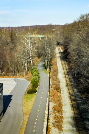 Train tracks and Blackstone River Bikeway in parallel