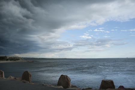 passing over: Summer storm passing over Fairhaven, Massachusetts