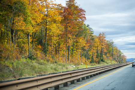 Fall foliage along divided highway in New Hampshire
