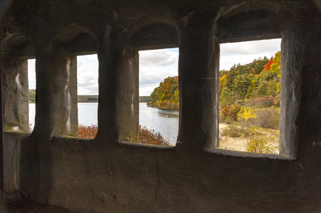 View from inside remains of Old Stone Church on Wachusett Reservoir
