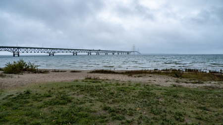 disappears: Mackinac Bridge to Michigan Upper Peninsula disappears into morning rain