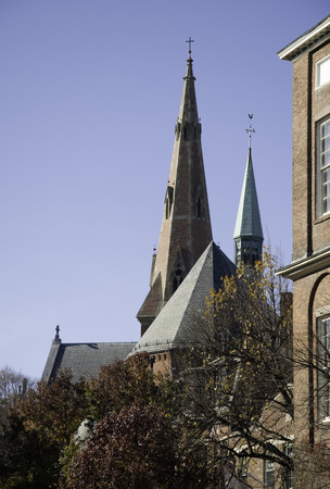 steeples: A cluster of steeples against a blue Boston sky