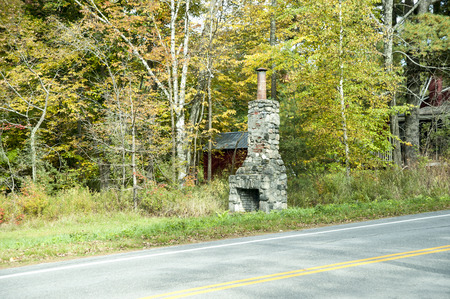stone fireplace: Old stone fireplace only artifact remaining from house long gone Stock Photo