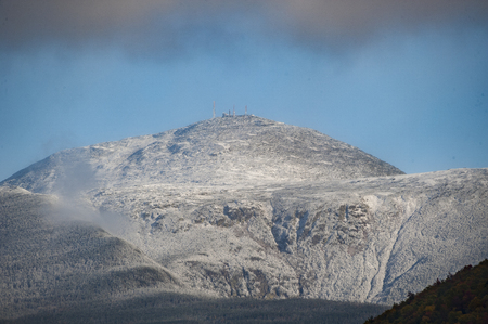enables: Break in clouds enables view of communications center atop Mount Washington