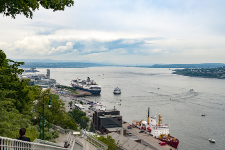 lawrence: View of boats and ships on St. Lawrence River from Governors Promenade