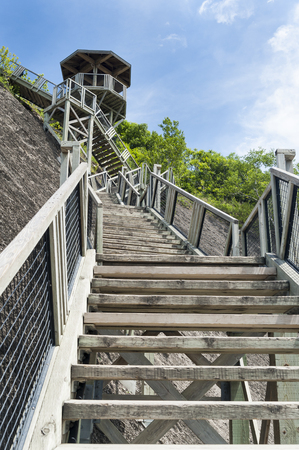 Long, long flight of stairs at Montmorency Falls near Quebec City