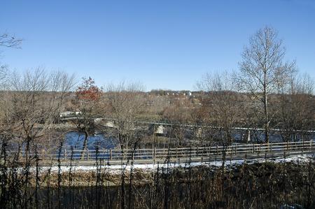 bikeway: High vantage point shows bridge across Blackstone River valley Stock Photo